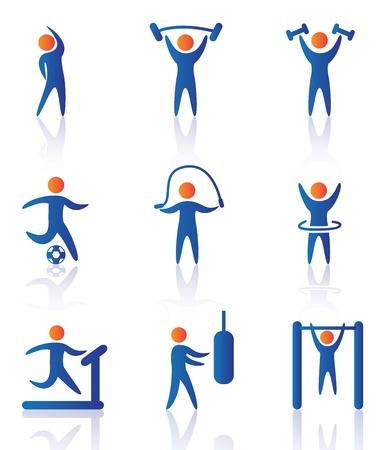 Ilustración de gym icons over white background vector illustration   - Imagen libre de derechos