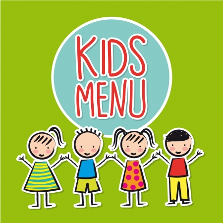 Ilustración de kids menu over green background  - Imagen libre de derechos