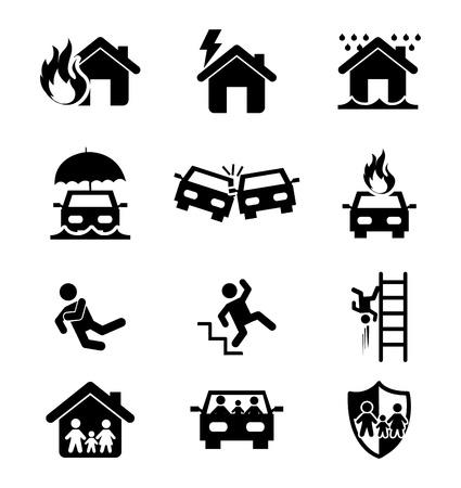 Ilustración de insurance icons over white background  - Imagen libre de derechos
