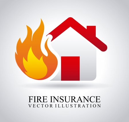 Illustration for fire insurance over gray background  - Royalty Free Image