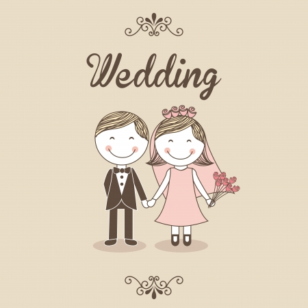 Illustration pour wedding design over pink background  - image libre de droit