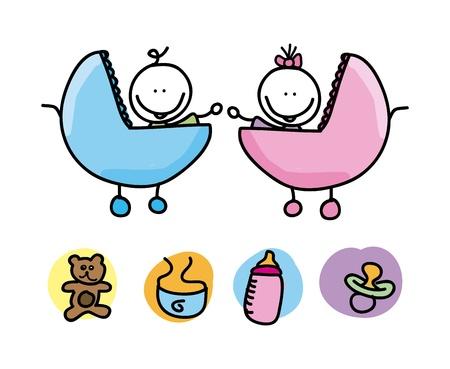 Foto für baby icons over white background  - Lizenzfreies Bild