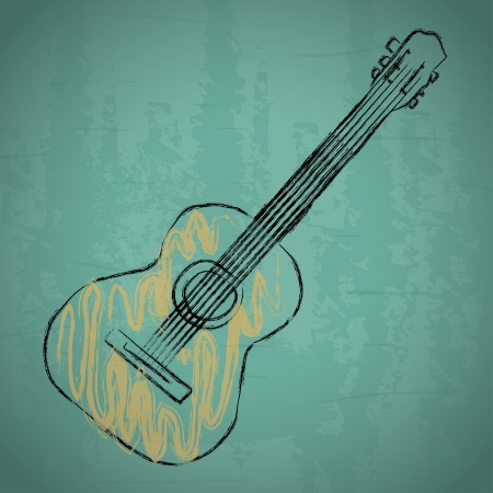 Foto de acoustic guitar over blue background vector illustration - Imagen libre de derechos