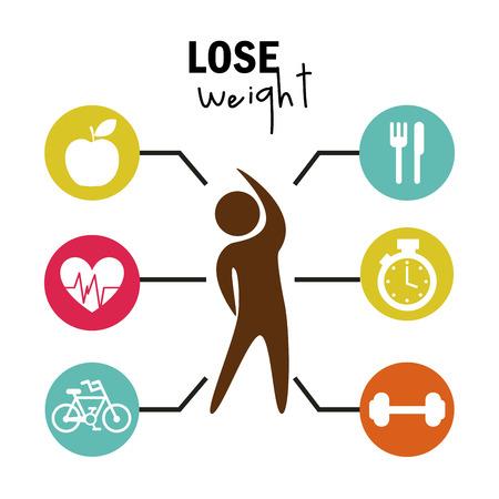 Ilustración de lose weight over white background  vector illustration - Imagen libre de derechos