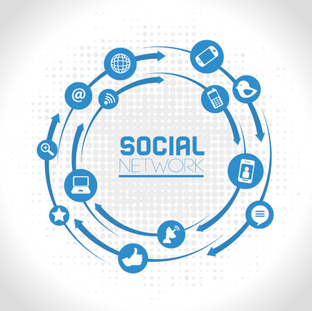 Ilustración de social network icons over gray background vector illustration  - Imagen libre de derechos