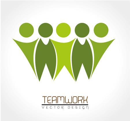 Ilustración de teamwork design over white background vector illustration - Imagen libre de derechos