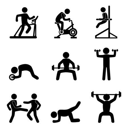 Ilustración de fitness icons over white background vector illustration  - Imagen libre de derechos