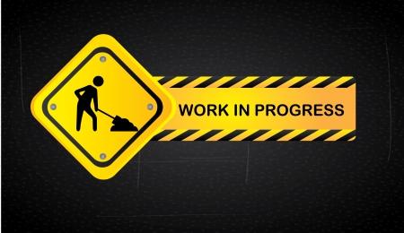Illustration pour work in progress over black background  vector illustration - image libre de droit