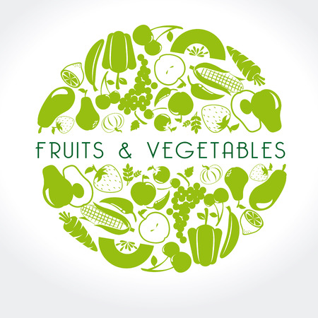 Illustration pour fruits and vegetables label over white background vector illustration - image libre de droit