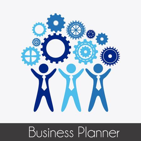 Ilustración de business planner over gray background vector illustration - Imagen libre de derechos