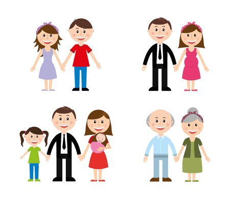 Illustration pour family design over white background vector illustration - image libre de droit