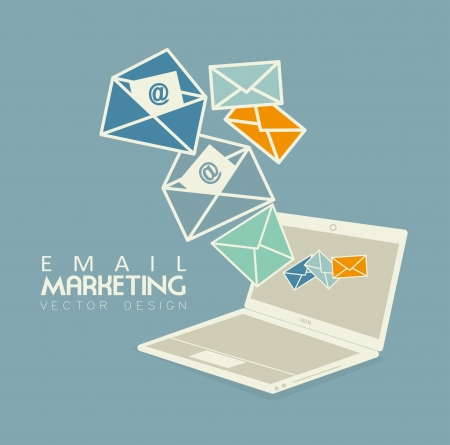 Ilustración de email marketing over blue bacground vector illustration - Imagen libre de derechos