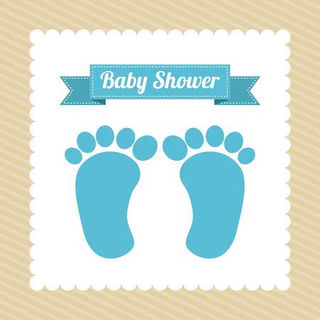 Ilustración de Baby shower card with baby foot prints, vector illustration - Imagen libre de derechos