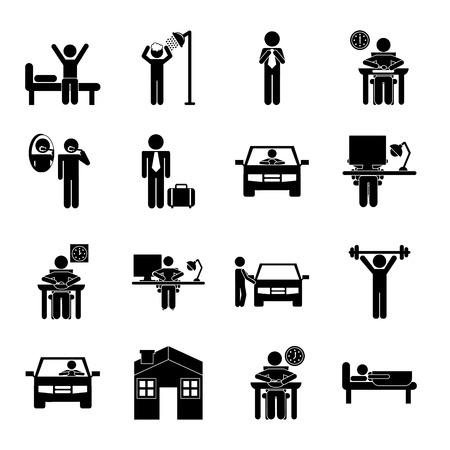 Illustration pour daily routine over  background, vector illustration - image libre de droit