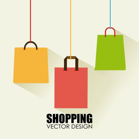 Ilustración de Shopping bags design over beige background illustration - Imagen libre de derechos