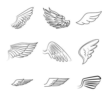 Illustration for Wings design over white background illustration - Royalty Free Image
