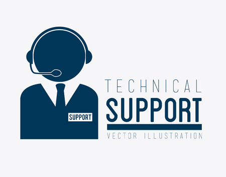 Illustration pour Technical support design over white background, vector illustration - image libre de droit