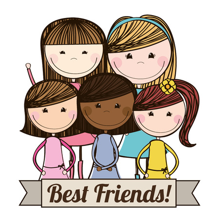 Illustration for best friends design , vector illustration - Royalty Free Image