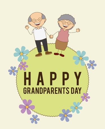 Illustration for happy grandparents day design, vector illustration - Royalty Free Image