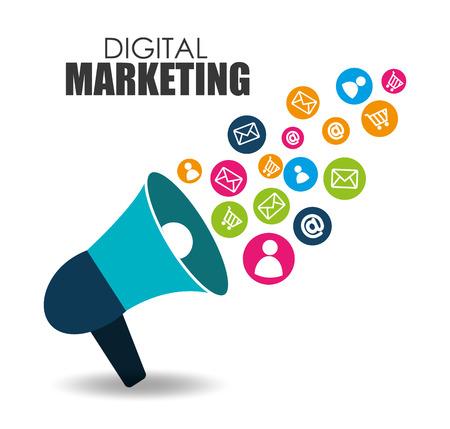 Illustration pour digital Marketing design over white background - image libre de droit