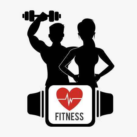 Ilustración de Fitness design over white background - Imagen libre de derechos