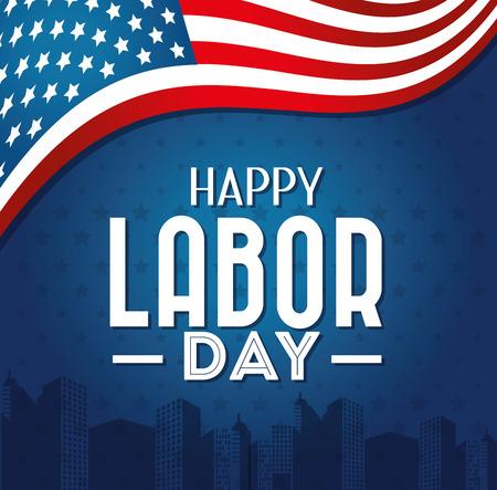 Illustration pour Labor day card design, vector illustration. - image libre de droit