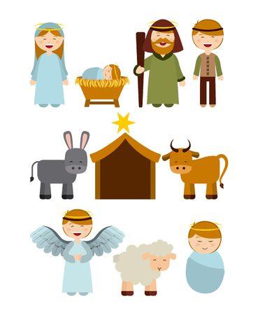 Illustration pour Christmas manger characters design, vector illustration graphic - image libre de droit