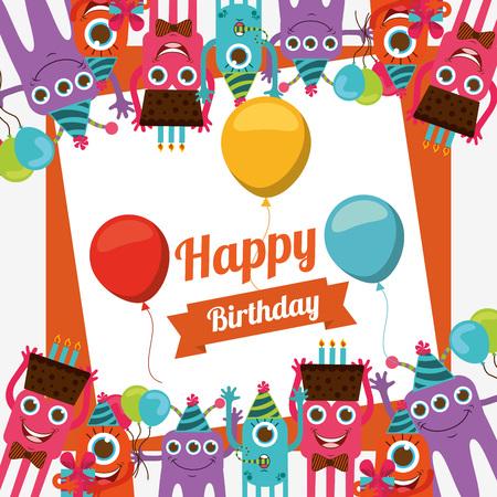 Illustration for happy birthday card design, vector illustration   - Royalty Free Image
