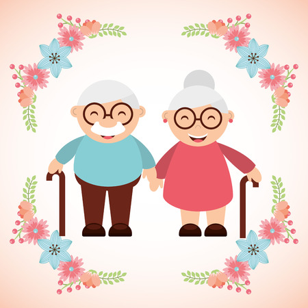 Illustration for grandparents concept design, vector illustration  - Royalty Free Image
