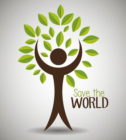 Ilustración de Save the world and ecology graphic design theme, vector illustration - Imagen libre de derechos