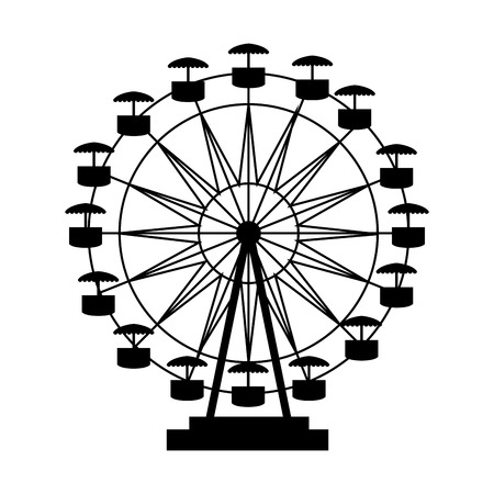 Illustration for ferris wheel fair entretaiment round attraction fun vector  isolated illustration - Royalty Free Image