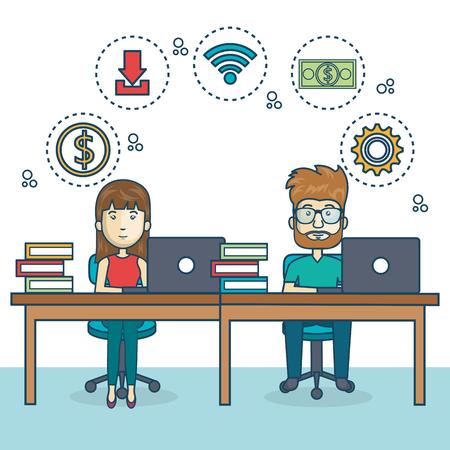 Illustration pour people working office icon vector illustration design - image libre de droit