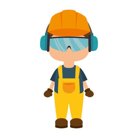 Illustration pour avatar worker wearing  industrial security protection equipment. vector illustration - image libre de droit