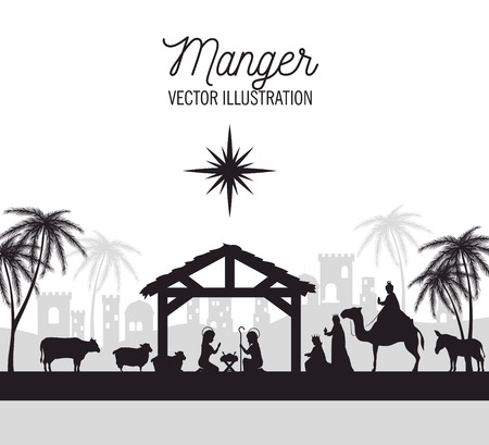 Illustration for silhouette manger merry christmas isolated design vector illustration eps 10 - Royalty Free Image