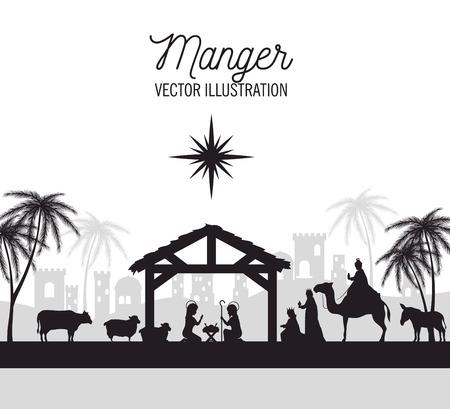 Ilustración de silhouette manger merry christmas isolated design vector illustration eps 10 - Imagen libre de derechos