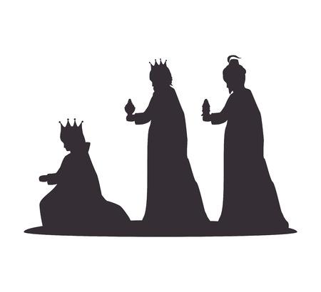 Illustration pour silhouette three wise kings manger design isolated vector illustration eps 10 - image libre de droit