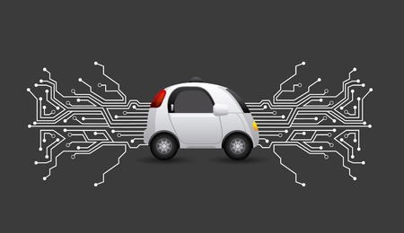 Foto per autonomous car vehicle with circuit board  over black background. smart and techonology concept. vector illustration - Immagine Royalty Free