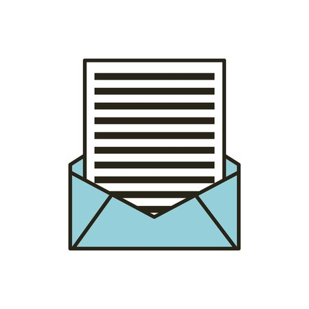 Ilustración de mail envelope with letter over white background. vector illustration - Imagen libre de derechos