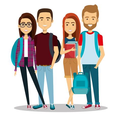 Illustration pour young people group avatars characters vector illustration design - image libre de droit