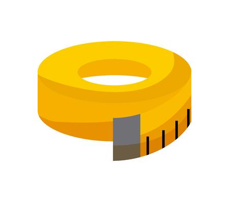 Illustration pour yellow measurement tape icon over white background. colorful design. vector illustration - image libre de droit