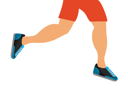 Ilustración de man legs running over white background. healthy lifestyle concept. colorful design. vector illustration - Imagen libre de derechos