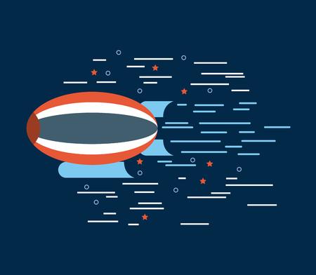 Illustration pour zeppelin red white blue over navy background image vector illustration design - image libre de droit