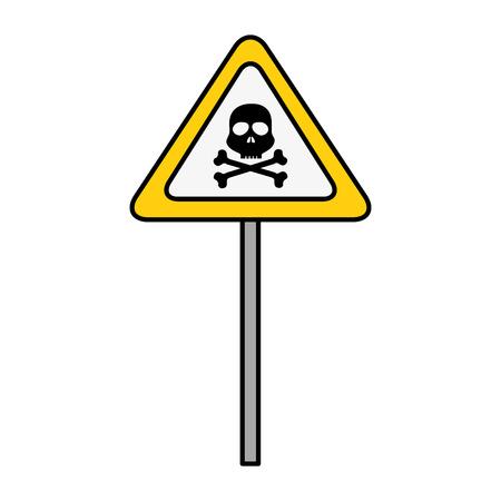 Illustration pour sign with skull danger alert icon vector illustration design - image libre de droit