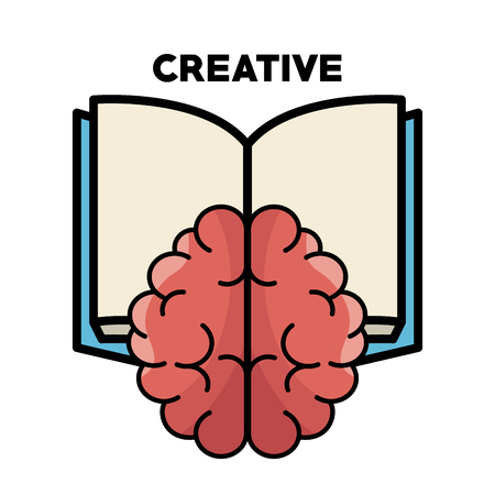 Ilustración de Brain, opened book and creative sign over white background. Vector illustration. - Imagen libre de derechos