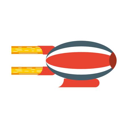 Illustration pour red and blue airship blimp cartoon vector graphic design - image libre de droit