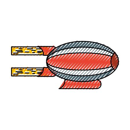 Illustration pour scribble red and blue airship blimp cartoon graphic design - image libre de droit