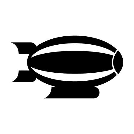 Illustration pour Black icon airship blimp cartoon graphic design - image libre de droit