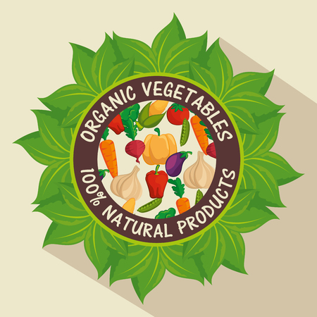 Organic label with leaves and colorful vegetables over beige background.