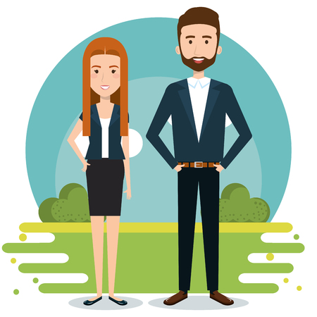 Illustration pour Standing couple with outdoors landscape behind over white background. Vector illustration. - image libre de droit