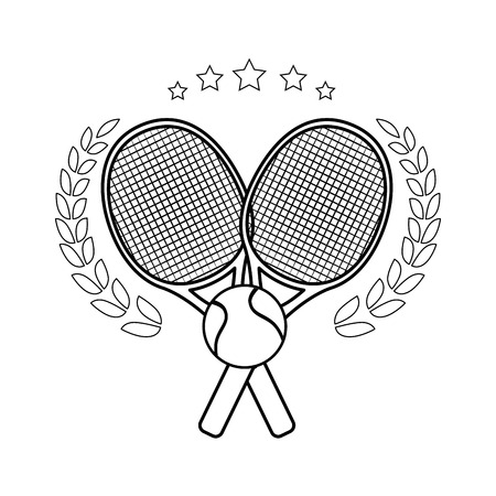 Illustration pour tennis emblem with  rackets crossed and ball icon over white background vector illustration - image libre de droit